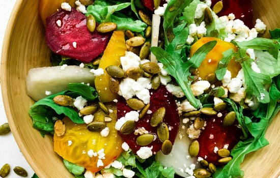 Pressure Cooked Beets with Greens, Pepitas and Honey Balsamic