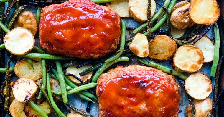 Not Your Average Mini Meatloaf with Roasted Potato Rounds and Green Beans