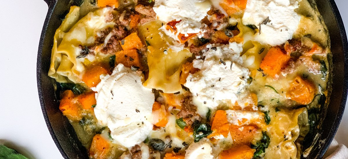 Roasted Butternut Squash and Spinach Skillet Lasagna