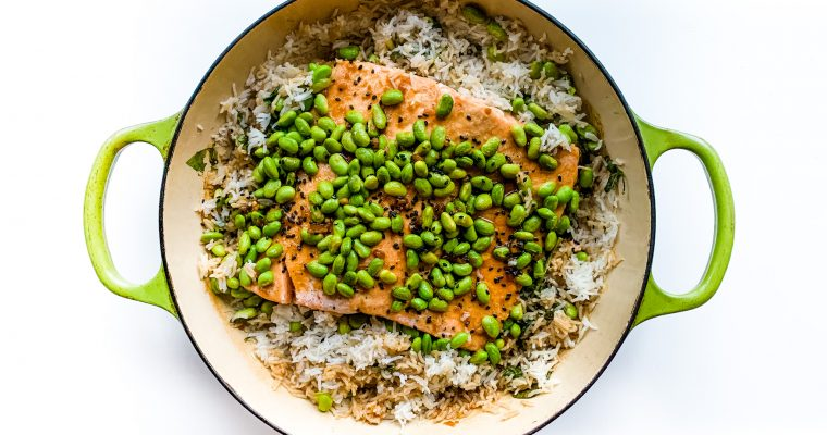 Steamed Salmon in Rice, Edamame and Sesame