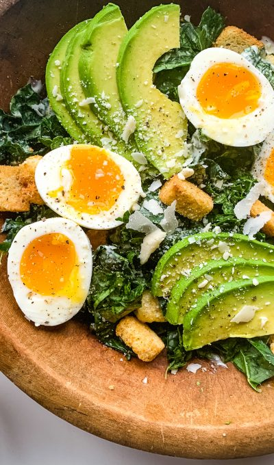 Kale Caesar Salad with Jammy Eggs