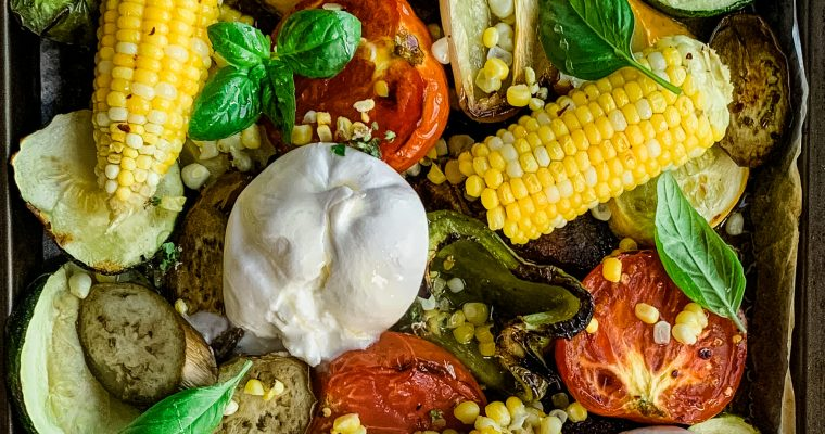 Roasted Vegetables and Burrata with Sweet & Spicy Vinaigrette