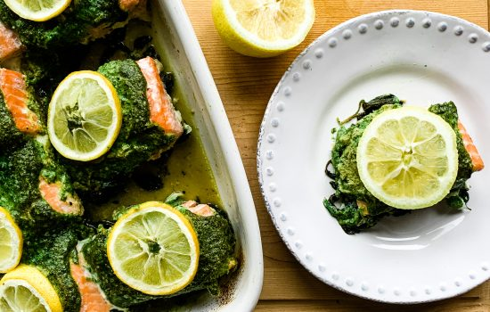 Baked Salmon Pesto with Spinach
