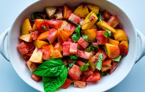 Tomatoes, Peaches and Basil Salad