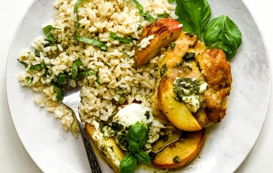 Peach and Pesto Chicken with Burrata and Honey over Rice